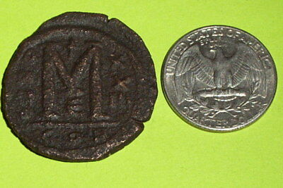 HUGE Ancient BYZANTINE COIN - JUSTINIAN I large M ANNO XXIII old christian cross
