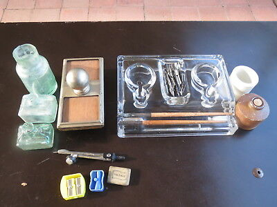 Collectable lot Glass inkwell with pen holder,  made in England, nibs and ink bo