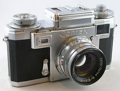 Bright and Clean CONTAX IIIa w/Sonnar 50mm f/2 Lens and Case