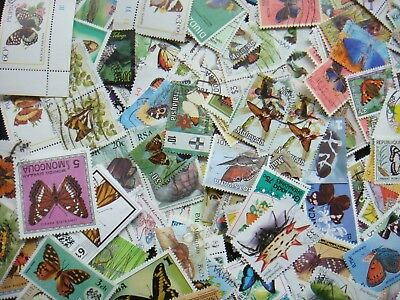BUTTERFLIES/Insects Stamps Thematic 10g Whole World Mixed CTO's/Genuine Postage
