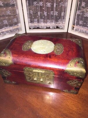 Jade Oriental Vintage Wood Brass Accent Jewelry Box Shanghai Asian