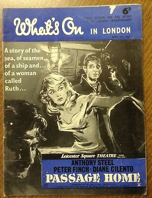 """1955 magazine, """" What's on in London """"  Passage home """" cover film."""