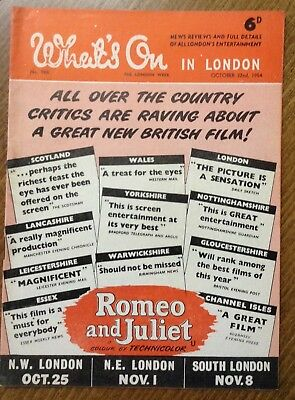 """1954 magazine, """" What's on in London """" Romeo & Juliet cover film."""