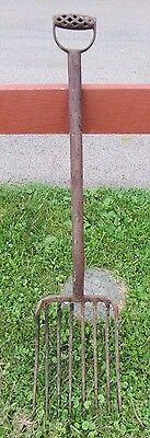 *vintage* 8 Tine Steel Potato Pitch Fork ,manure,primitive Farm Country Tool 43""