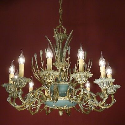 Very Special 12 Light Brass French Empire Chandelier Green Varnish Vintage Lamp