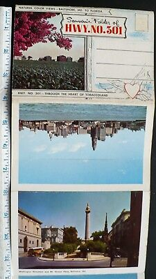 1950s Souvenir Folder of Cities & Sights on US Highway 301 Baltimore to Florida