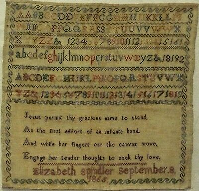 Mid/late 19Th Century Verse & Alphabet Sampler By Elizabeth Spindler - 1865