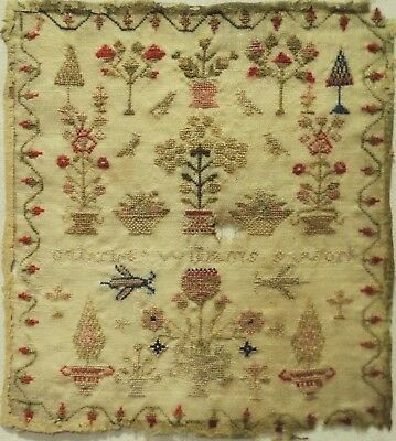 SMALL EARLY 19TH CENTURY MOTIF SAMPLER BY CATHRINE WILLIAMS - c.1835