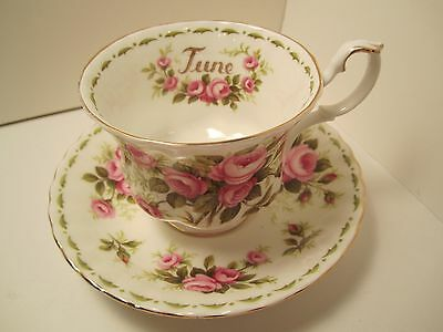 "Royal Albert English China Cup&Saucer  Flower Of The Month ""June"" Roses"
