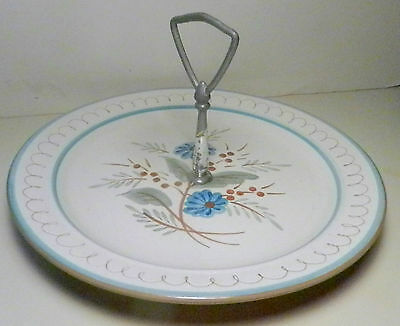 """Stangl Pottery Hand Painted Blue Daisy Handled 10"""" Tidbit Tray/Platter -Vintage"""