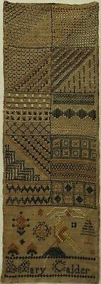 SMALL EARLY 19TH CENTURY DARNING & MOTIF SAMPLER BY MARY CALDER - c.1810