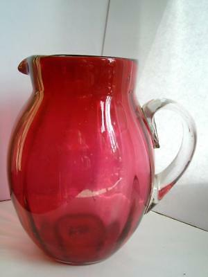 Large antique Victorian period cranberry ruby glass water jug C1890