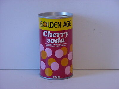 Golden Age Cherry Soda Can Straight Steel Pull Tab Top Opened 1973 No Bar Code