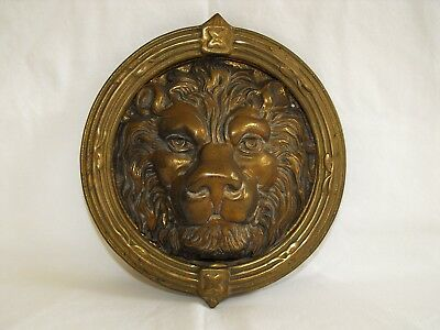 "vintage door knocker brass lion head 8"" rnd architectural salvage large knocker"