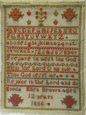 Late 19Th Century Quotation, Motif & Alphabet Sampler By Ellen Brown - 1886