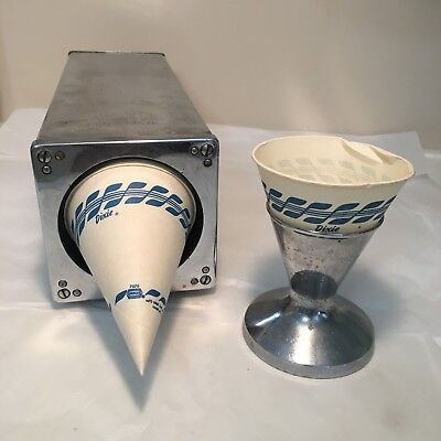 Vintage 1950's Chrome DIXIE VORTEX Cone Cup Dispenser and Holder Stainless Steel