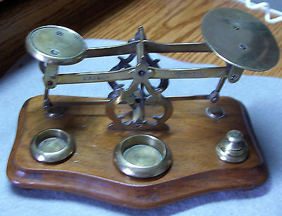 Very Nice Authentic Postal Scale, Complete w/Matched Set of Brass Weights ,1880