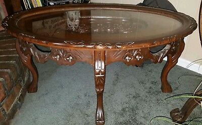 Rare 1930's Antique Love Bird Carved Wood Glass Top Coffee Table