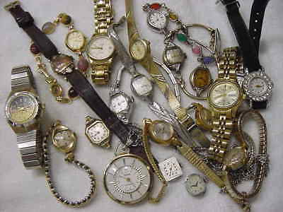 Lot of 20 Vintage GOLD FD antique Art Deco Lady HAMILTON BULOVA DIAMOND watch NR