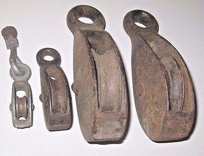 Lot of 4 Antique Vintage SMALL Pulley Steel Blocks Primitive Industrial Tools