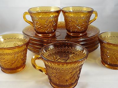 """Vintage Indiana Glass Amber """"Tiara"""" Daisy (5 sets)  Luncheon snack set 10 pcs"""