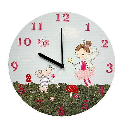 Childrens Magical Fairy Round Wall Clock - Kids Accessory – MDF Wood – 34cm