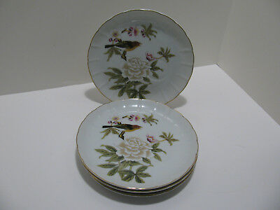 """Vintage Sheffield """"Chinese Garden"""" Cup Holder Lunch Plates - Set of 4"""