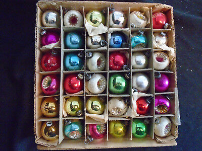 """36 Feather Tree Mercury Glass Ornaments  Indents """"japan"""""""