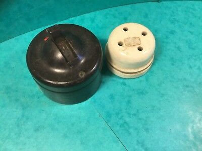 House restoration vintage electric MK 15 amp switch brown pot,Bakelite. Double P