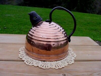 ANTIQUE COPPER KETTLE - BEEHIVE - w/ WHISTLING BIRD Whistle - 1930's REVERE WARE