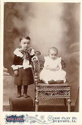 c1890 Two Charming Babies, Dubuque, Iowa Sepia Cabinet Card, Nick Lenz
