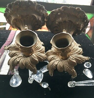 matching Vintage Pair Ornate Victorian brass sconces w/ Glass prisms W Hanger