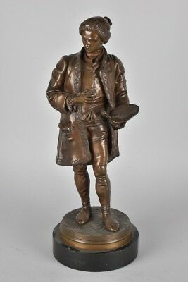 e21b64- Bronzefigur auf Marmorsockel, sign. Johnson, England 19. Jh.