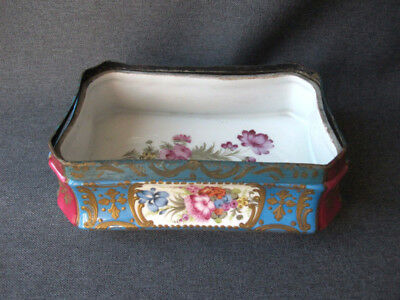 Antique hand painted flowers & leaves porcelain jewelry trinket dresser tray