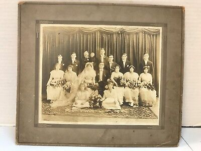 Antique Photo of 1920's? Wedding Party photo by A. Virkshus, E. Chicago, IN