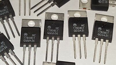 10pcs Motorola MCT7808CT / MC7808 +8V 3-Terminal 1A Voltage Regulators NOS