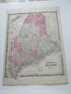 LATE 1800s ANTIQUE JOHNSON'S & WARD MAP, MAINE