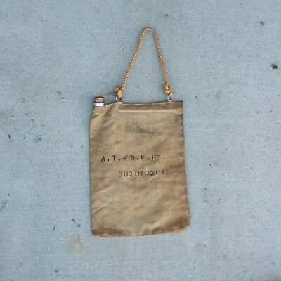 Santa Fe Canvas Steam Locomotive Water Bag Marked A T & S F Ry With Cork