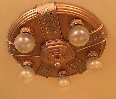 Vintage Lighting two 1930s Deco ceiling fixtures