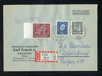BERLIN Nr.185 HEUSS u.a. R-BRIEF BAERL über Moers 1.8.1960 !!! (951151)
