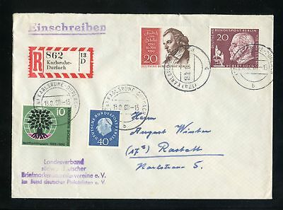 BERLIN Nr.185 HEUSS u.a. R-BRIEF KARLSRUHE-DURLACH 13.9.1960 !!! (951150)