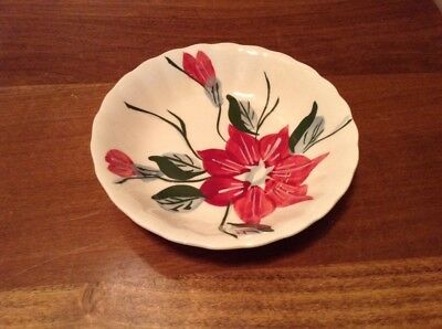 "6 Blue Ridge Southern Potteries hand painted poinsettia 5 1/4"" bowls"