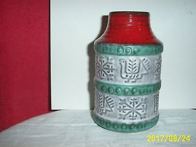 Art Pottery Vase BAY W.-GERMANY Numbered 64 14 Hand-Turned Green Red White #1541