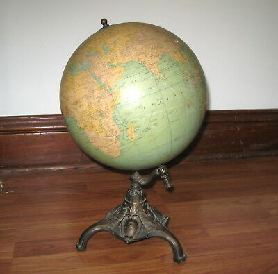 "Antique Vintage Rand McNally Terrestrial Globe 12"" Bronze Footed Base"