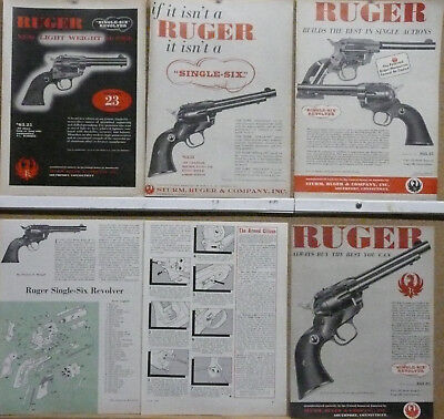 RUGER SINGLE-SIX  22 Ad Lot (5) Exploded View 1957