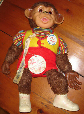 J. Fred Muggs Monkey Rubber Face Plush Doll Antique Vintage Red Vest W/ Tag