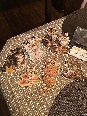 Vintage Cardboard Cut Out Victorian Cats - Set of 11tags Or Ornaments