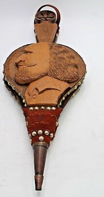 ANTIQUE WOODEN  FIRESIDE BELLOWS with WILLIAM SHAKESPEARE'S PROFILE.CARVING