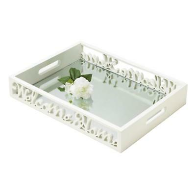 white WELCOME HOME sign candle holder plate mirror vanity snack serving tray