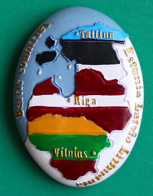 Souvenir Fridge Magnet Baltic Countries Map Estonia Latvia Lithuania